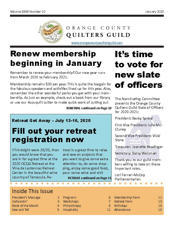Cover of January 2020 Newsletter