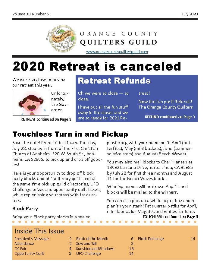 Cover of July 2020 Newsletter